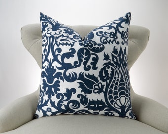 Navy Floor Pillow Cover, Big Pillow, Euro Sham, Accent Pillow, Cushion, Navy Blue & White -up to 28x28 inch- Amsterdam by Premier Prints