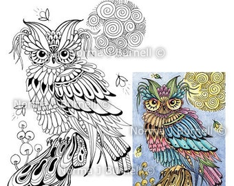 Firefly Friends Fairy Tangles Digital Stamp Zentangle Owl Printable Digi Stamps by Norma J Burnell for card making crafting and coloring