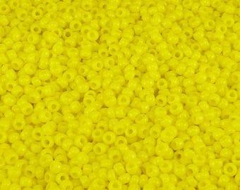 TOHO 11/0 Round Seed Beads - Opaque Sunshine Yellow - 20 gram Bag - Vibrant Sunny Sun Day Glow - Color Code 42B- Jar 83