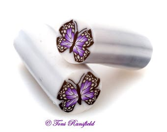 Purple Butterfly Polymer Clay Cane, Raw polymer Clay Cane, Millefiori Polymer Clay