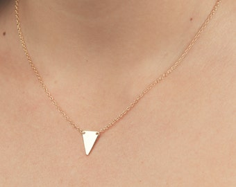 Triangle necklace tiny gold necklace minimalist delicate little triangle gold filled or silver jewelry.