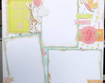 Hello Baby Girl 12x12 Premade Scrapbook Pages 12x12 Scrapbook Layout
