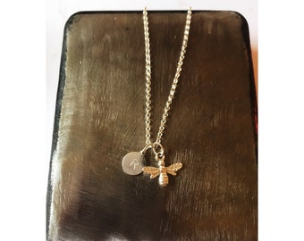 Sterling silver bee necklace with personalised disc
