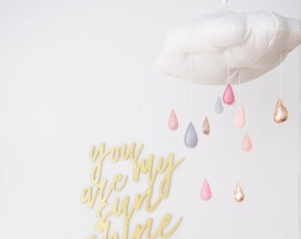 Pink and Rose Gold Metallic Rain Cloud in Luxe Linen and Felt - for baby nursery decor - Free US Shipping