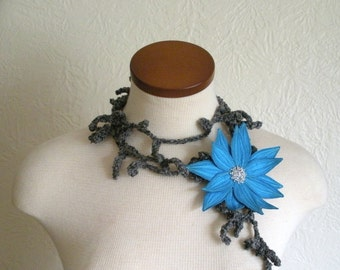 Wedgewood Blue Lotus Flower with Grey Lariat Scarf- Fiber Art Scarf- Blue Embroidered Silk Flower Lily Clip with Grey Crochet Scarf