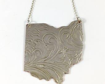 Ohio Necklace, Ohio Gift, Ohio Map Necklace, Ohio Jewelry, Ohio charm, Ohio Woman, Wife Gift, Ohio Pendant, Vintage Ohio, Ohio Outline