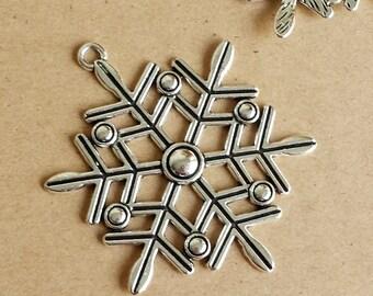 5pcs 58x47mm Antique Silver snowflake ,large  Antique Silver snowflake Charm Pendant  ABS030