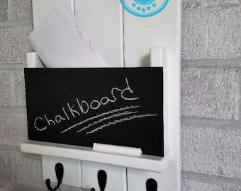 FREE SHIPPING -  Sydney Mail Slot with Chalkboard and 3 hooks  by Lane of Lenore - Mail and Key Holder -Mail Organizer Wall -Key Hooks