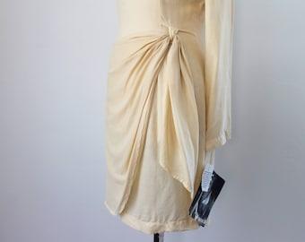 1990s Deadstock Cream Silk Dress