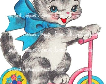 Cat Image Digital - Kitty Vintage Digital Download - Kitten on Scooter Image -  Vintage Image Large PNG - Retro Kitty Scooter - Cute Cat
