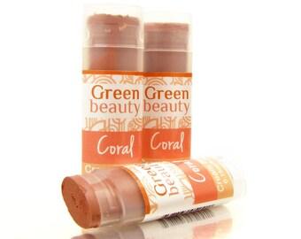 Cream Blush, Coral, blush stick, cream blush, cheek blush, mineral makeup, lip stick, natural blush, blush, mineral blush, natural cosmetics
