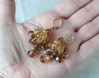 Vintage Statement Earrings, Amber Faceted Glass, Filigree, Amber AB Glass Bead Earrings