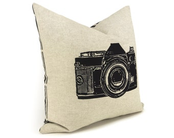 Sale | 16x16 Modern Pillow Cover, Case | Camera Photography Print | Modern and Industrial Home Decor | Black, Beige and Geometric Accent