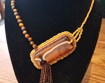 Coffee & Caramel Asymmetrical Bead Embroidery Necklace