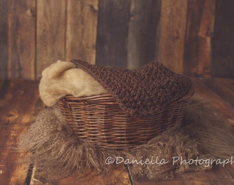 Newborn Photo Prop Layer Blanket in Wood // Pick Your Own Colours