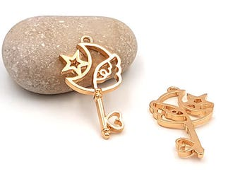 magical Moon Star Wing 40mm gold gilded creations resin 5 wand charm