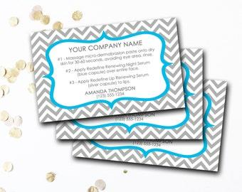 Mini Facial Card, Customized Mini Facial Card, Personalized Mini Facial Card, Blue And Gray Chevron Mini Facial Card, DIY Printable