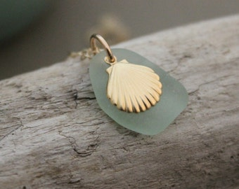 Seafoam green Genuine Sea Glass Necklace - 14k Gold seashell Charm - beach Girl, 14k Gold Filled Chain, Beach Necklace Summer Casual