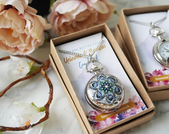 Pocket watch necklace, pendant necklace, watch fob necklace, fob watch, woman watch, gift for her, christmas gift, bridesmaid gift