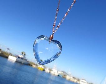 Lovely Vintage Heart Prism Necklace // Heart Crystal and Rose Gold Necklace // Rare Crystal Prism Necklace