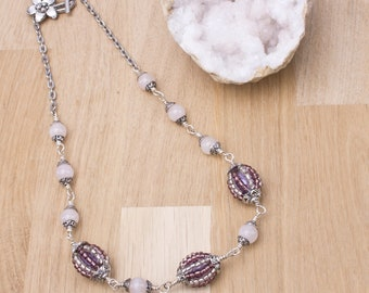 Rose Quartz and beaded bead necklace - Pink gemstones with handmade purple and silver beaded beads | Statement necklace | Gift for her