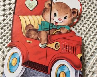 Vintage 1950s Valentine Card Teddy Bear Driving A Car Collectible Paper Ephemera Art Craft Scrap Booking