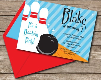 INSTANT DOWNLOAD, Bowling Birthday, Boy, Blue Red Orange, 5 x 7 Printable Invitation, You Edit Yourself in Adobe Reader