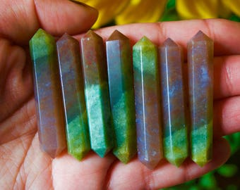 Small Green Orange Mixed Fancy Jasper Double Terminated Wand Point, Reiki Healing, Crystal Quartz, Mineral Specimen, Healing Crystals