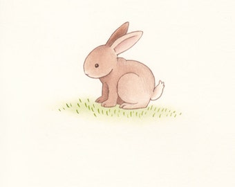 Original watercolour painting of a Bunny