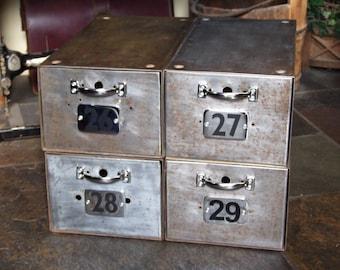 Vintage Metal Filing Drawer Unit