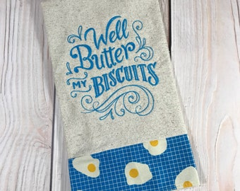 Well Butter My Biscuits Tea Towel, Blue