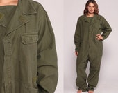 Army Coveralls Flight Suit Military Jumpsuit Zip Up Grunge Pantsuit Aramid Vintage Long Sleeve Romper Olive Green Extra Large 2xl 3xl