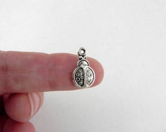 20 Ladybug Charms in Antiqued Silver - 15mm x 9mm