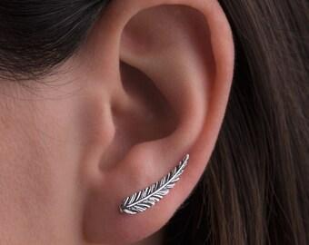 Feather Ear Climber Earrings Boho Sterling Silver Ear Cuff Feather Gold Plated Ear Climber Earrings Bohemian Jewelry - FES018