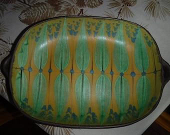 Dybdahl Pottery ceramic tray #2 Danish Mid Century Greens & Yellows