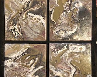 Coasters, set of 4, painted ceramic tiles.