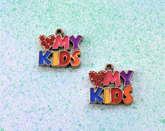 Enameled/Painted/Colored Love My Kids Charms --3 pieces-(Nickel Plated)--style 971-