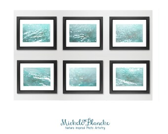 Large Prints, Water Abstract Photo Set, Six of Ocean Calm, Tranquil Sea in turquoise and teal. Lake, beach house cabin vacation home decor.