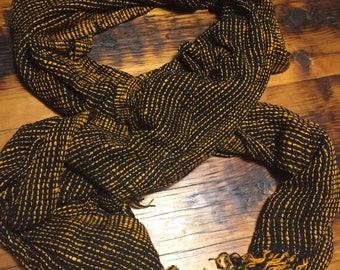 Orange and black striped raw silk scarf (72x24in)