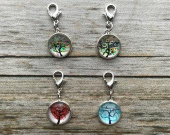 Planner Charm - Set of 4 Small Seasonal Tree Charms Patterned Planner Jewelry, Accessories