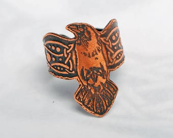 Copper raven ring, Celtic ravens jewellery, wrap around raven, corvid ring, norse jewelry, celtic armour ring, crow ring, crow shield ring