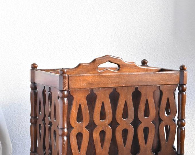mid century modern ornate wood magazine rack