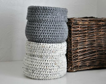 2 Baskets Catchall Storage Bins Modern Decor Contemporary Design Log Cabin Decor Custom Colors