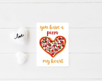 Pizza Valentine Card, Printable Valentines Day Card, Funny Valentine Card, Valentines Day Card Pun, Valentines Day Card for Him