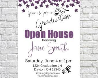 Printable Graduation Open House Invitation, Graduation Announcement, Graduation Party, Class of 2018, Confetti Invitation, Purple, Glitter