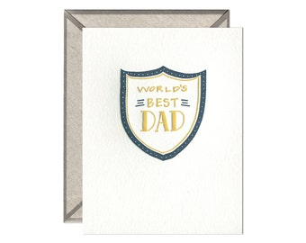 World's Best Dad Father's Day letterpress card