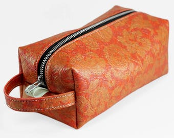 1965 Orange Floral Vintage Womens Cosmetics Bag