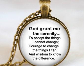 Serenity prayer jewelry ,Serenity prayer necklace, serenity prayer black white  religious jewelry, inspirational necklace