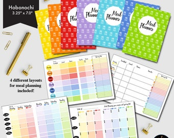 Meal Planner Hobonichi Printable, 4 different Weekly Meal Planners, Grocery lists, Menu Planning, printable Insert-CMP-228.5