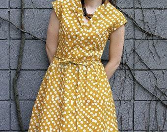 Retro Summer Dress in Mustard Batik Print